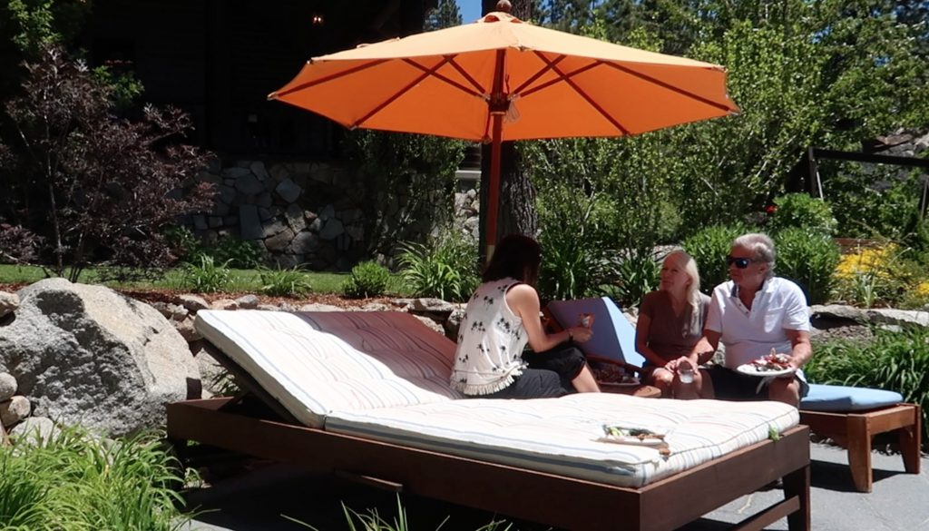 Guest enjoy lunch at the Chase International Lake Tahoe Luxury Estates Tour