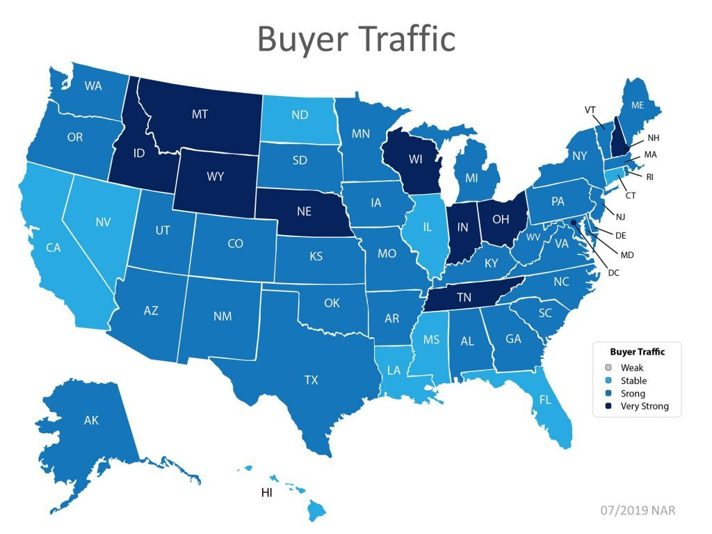 Homebuyer Traffic as of July 2019 State by State Nationwide
