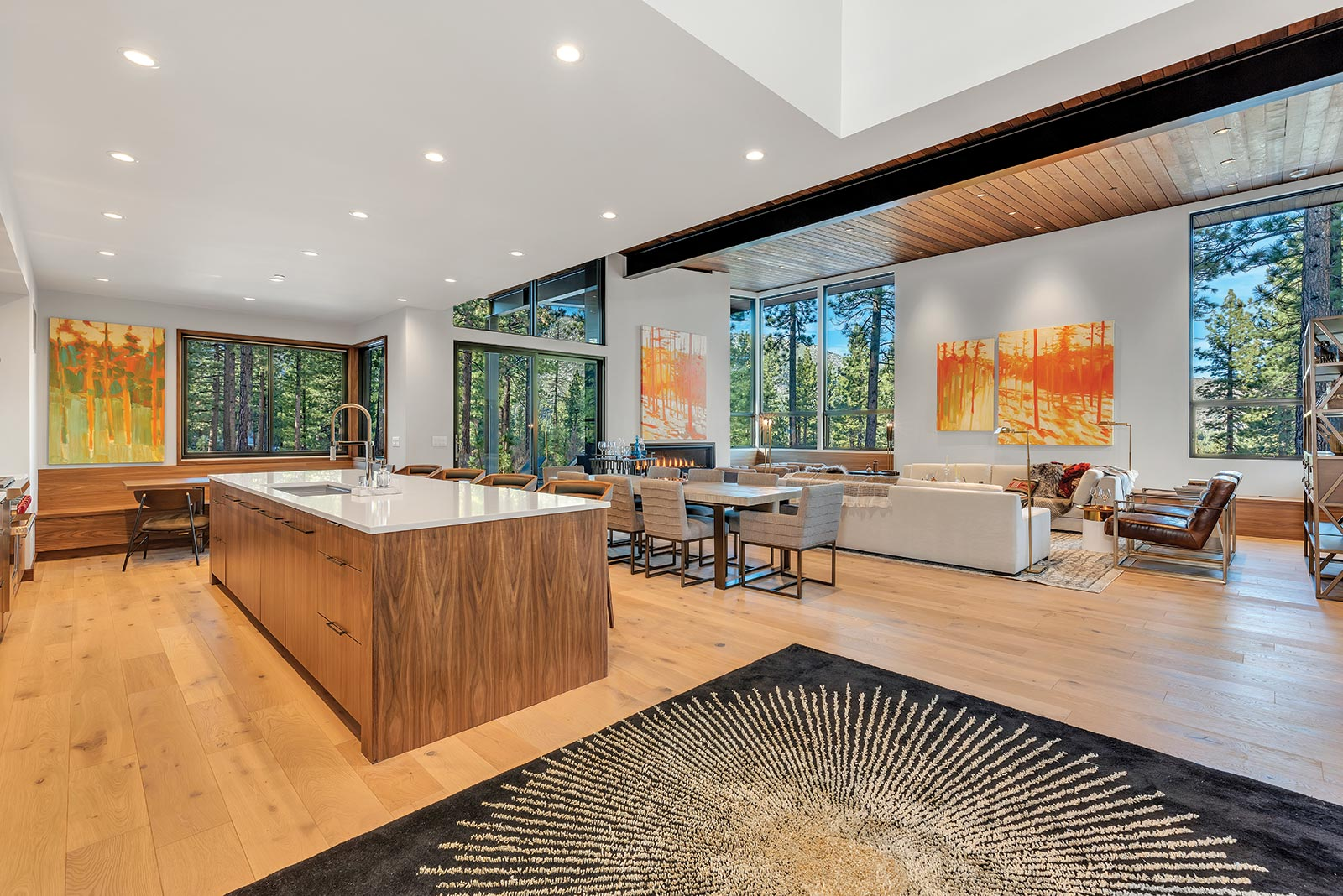 Clear Creek Tahoe Modern Kitchen bar and Living Room