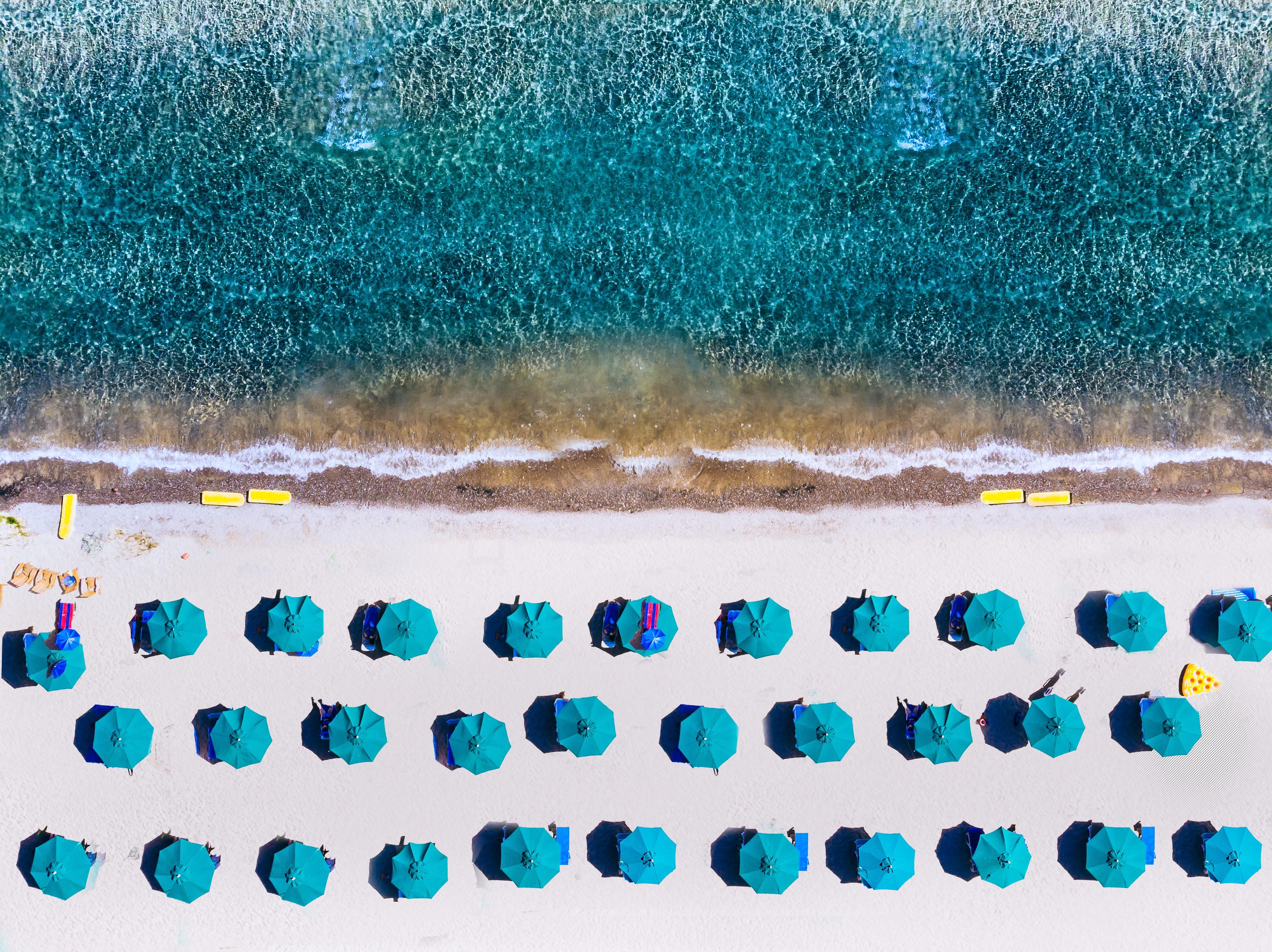 Umbrellas on Kings Beach Shoreline