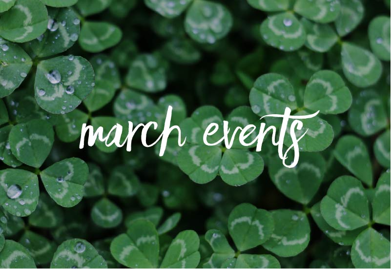 """Text reading """"march events"""" over an image of clovers."""